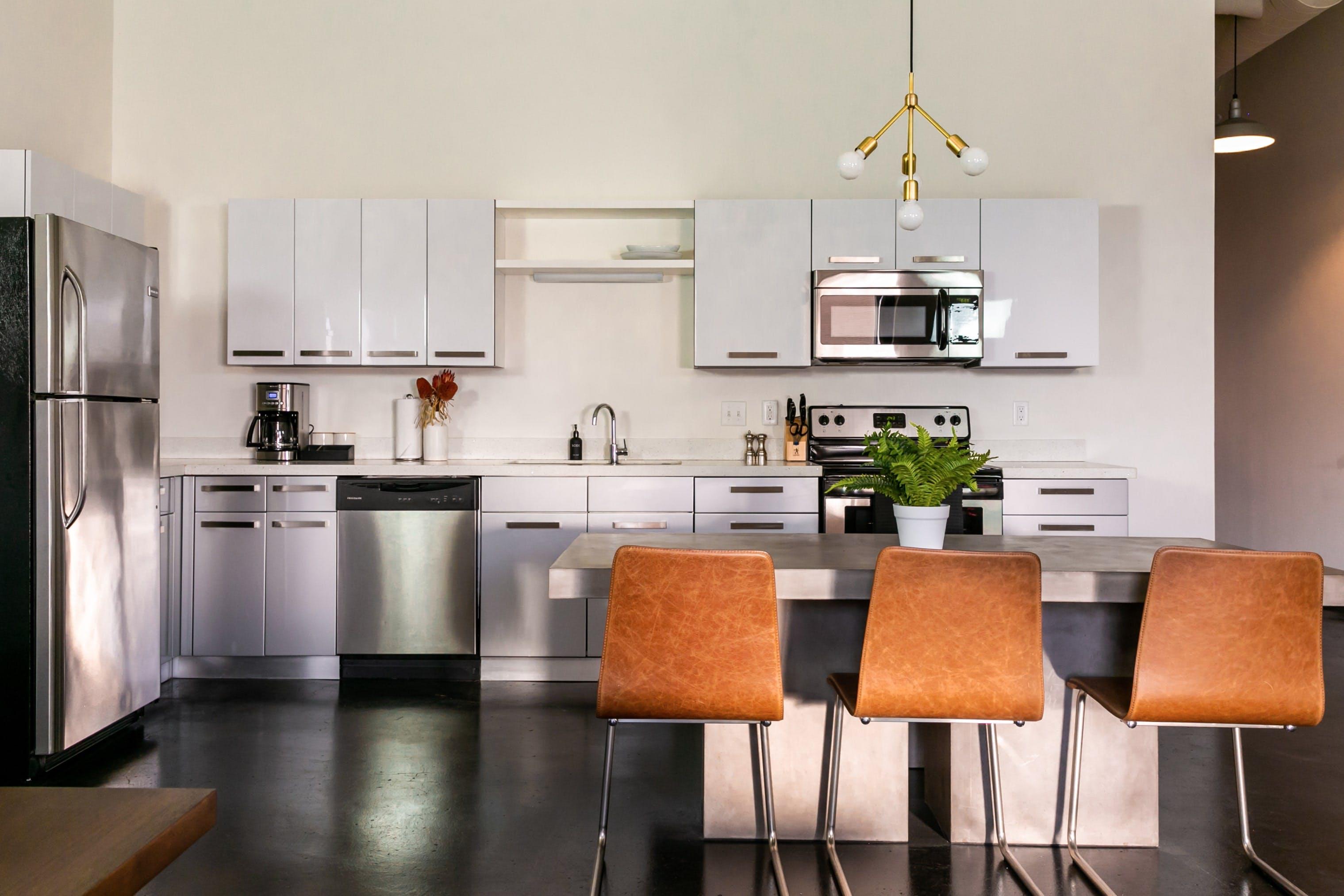 Full-size, modern kitchens.